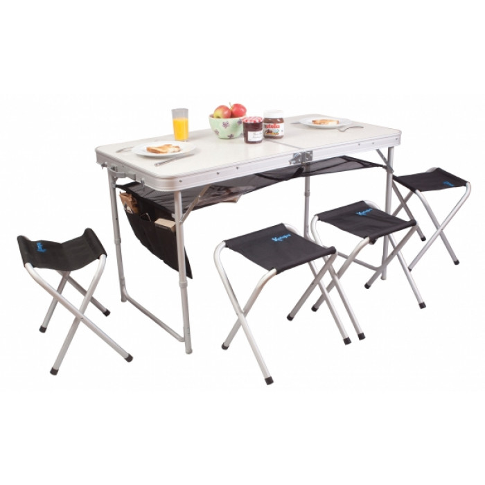 table de camping avec tabourets kampa espresso raviday. Black Bedroom Furniture Sets. Home Design Ideas