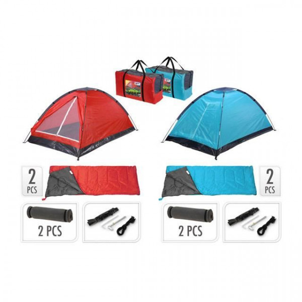 Tente dome 2 personnes + 2 sacs de couchage + 2 matelas - Rouge/Gris