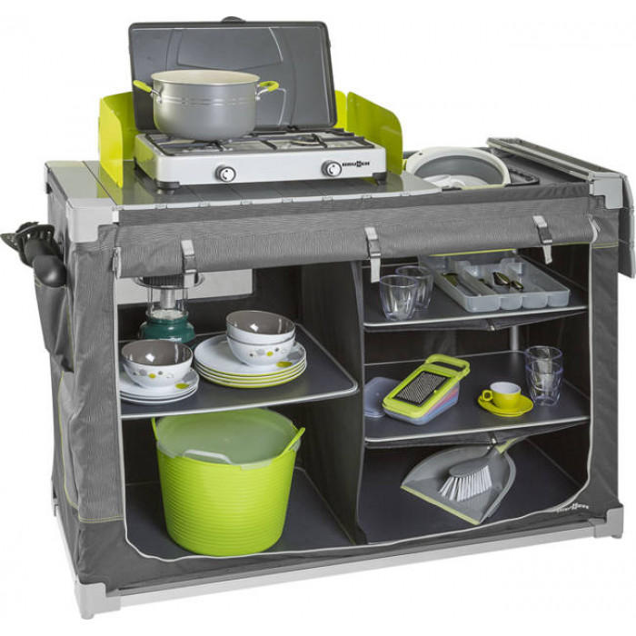 Meuble de cuisine brunner jum box 3g ctw gris vert for Meuble camping cuisine