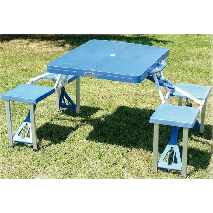 Table valise pic nic bleu table valise pique nique - Table picnic pliante decathlon ...