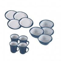 Service à vaisselle pour camping 12 pièces Dinner Set Bleu