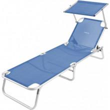 Lit de plage avec pare-soleil Brunner Malibu Bleu