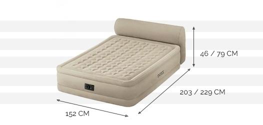 lit gonflable intex headboard bed fiber tech 2 places. Black Bedroom Furniture Sets. Home Design Ideas